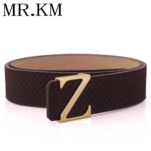 MR.KM皮带男士 真皮磨砂牛皮Z字母铜扣腰带