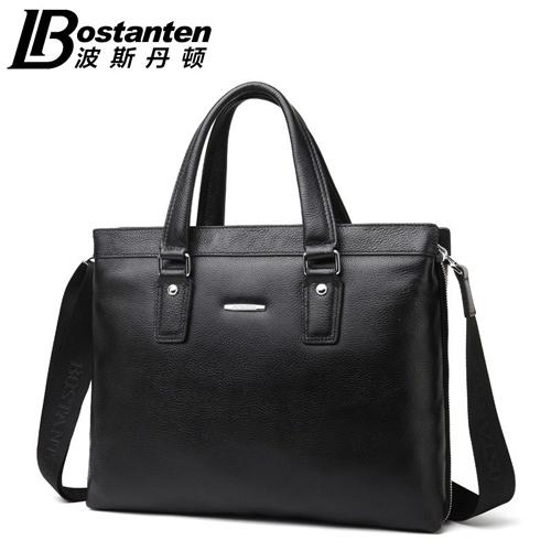 波斯丹顿男士手提包横款真皮公文包 商务电脑斜跨包 单肩包 男包