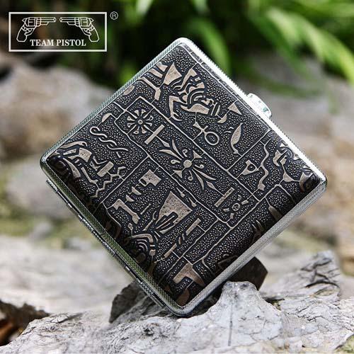 双枪烟盒20支装超薄创意自动弹烟夹纯铜香菸盒烟具金色古埃及300B