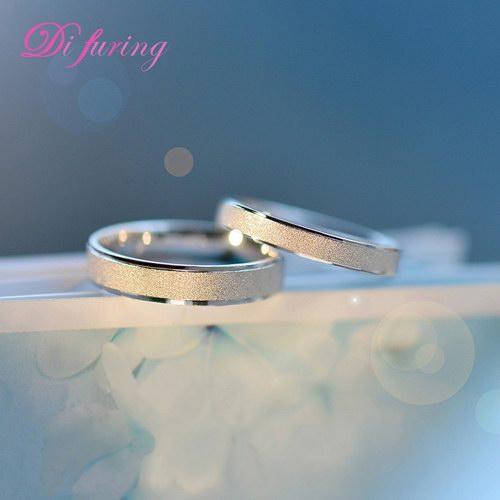 戴福瑞银饰品 情侣戒指 对戒男女创意刻字礼物纯银韩版一对戒指