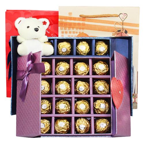 顺丰包邮 情人节礼物 费列罗进口巧克力礼盒装DIY翻盖形T16送女友