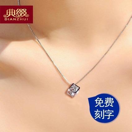短款锁骨银饰水晶项链