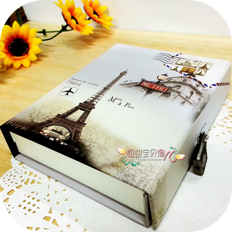 复古盒装锁本 学生 韩国精美日记本 加厚记事本 彩页本子带锁