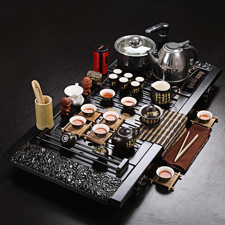 茶具套装特价包邮 紫砂功夫冰裂整套茶具 四合一电磁炉茶具茶盘
