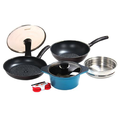 韩国正品HAPPYCALL不粘汤锅 平底煎锅 无烟锅 四件套装厨具