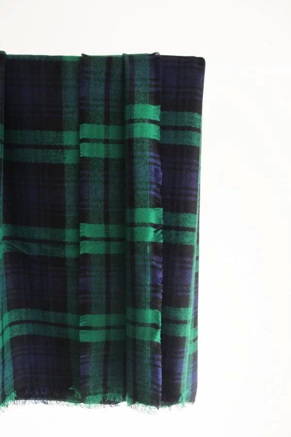 绿格子羊绒披肩